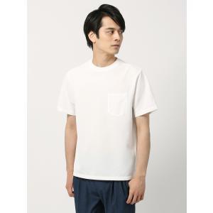 カットソー/メンズ/DESCENTE別注/グラフチェック調織柄 半袖クルーネックTシャツ ホワイト|uktsc