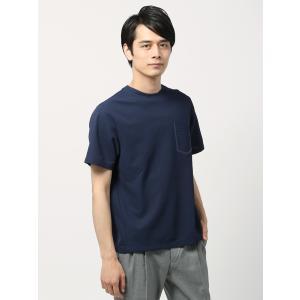 カットソー/メンズ/DESCENTE別注/グラフチェック調織柄 半袖クルーネックTシャツ ネイビー|uktsc