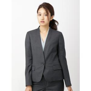 スーツ/レディース/セットアップ/通年/SUPER110'sウール マイクロチェック柄ノーカラージャケット/Fabric by REDA/ チャコールグレー×ブルー|uktsc