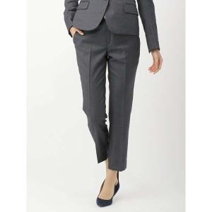 スーツ/レディース/セットアップ/通年/SUPER110'sウール マイクロチェック柄テーパードパンツ/Fabric by REDA/ チャコールグレー×ブルー|uktsc