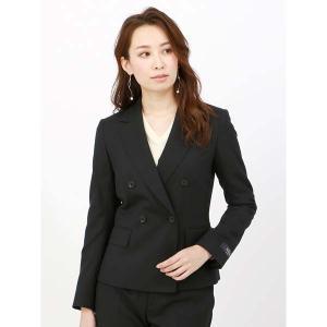スーツ/レディース/セットアップ/秋冬/SUPER110'sウール ダブルブレストジャケット/Fabric by REDA/ ブラック|uktsc
