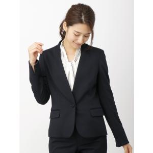 スーツ/レディース/セットアップ/通年/destyle/JAPAN QUALITY/ポンチジャージー Vネックノーカラージャケット ネイビー|uktsc