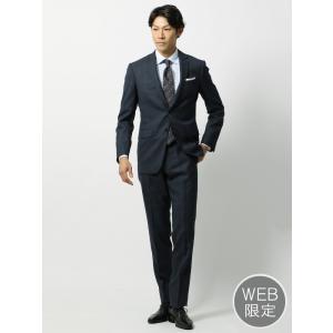 ビジネススーツ/メンズ/秋冬/WEB限定/ツーパンツ/アドバンス 2つボタンスーツ チェック NR-04 ネイビー×ブラック×ブルー|uktsc