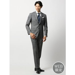 ビジネススーツ/メンズ/秋冬/WEB限定/ツーパンツ/アドバンス 2つボタンスーツ チェック NR-04 ミディアムグレー×ブラック×ライトグレー|uktsc
