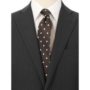 ネクタイ/レギュラータイ/メンズ/ドット×織柄クレリックネクタイ ブラウン系|uktsc