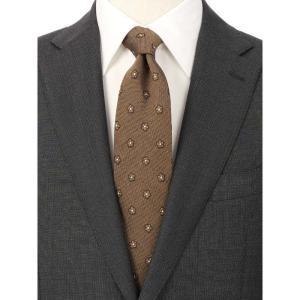 ネクタイ/レギュラータイ/メンズ/花柄×織柄ネクタイ/Fabric by ITALY/ ブラウン系|uktsc