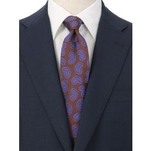 ネクタイ/レギュラータイ/メンズ/ペイズリー柄ネクタイ/Fabric by ITALY/ ブラウン系|uktsc