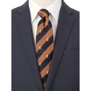 ネクタイ/レギュラータイ/メンズ/ストライプ×小紋柄ネクタイ/Fabric by ITALY/ ブラウン系|uktsc