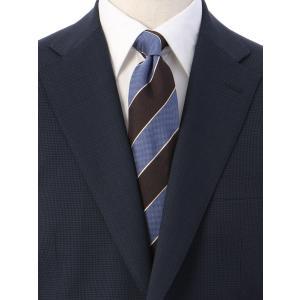 ネクタイ/レギュラータイ/メンズ/ストライプ×織柄ネクタイ/Fabric by ITALY/ ブラウン系|uktsc