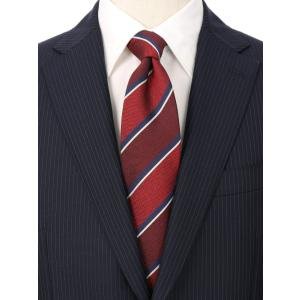 ネクタイ/レギュラータイ/メンズ/ストライプ×織柄ネクタイ/Fabric by ITALY/ レッド系 uktsc