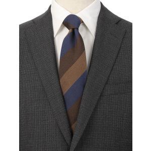 ネクタイ/レギュラータイ/メンズ/シルクコットン ストライプ×織柄ネクタイ/Fabric by ITALY/ ブラウン系|uktsc