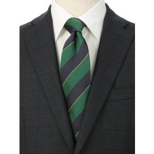 ネクタイ/レギュラータイ/メンズ/シルクコットン ストライプ柄ネクタイ/Fabric by ITALY/ グリーン系|uktsc