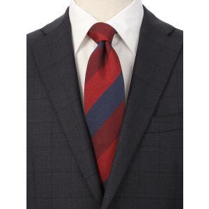 ネクタイ/レギュラータイ/メンズ/シルクコットン ストライプ×織柄ネクタイ/Fabric by ITALY/ レッド系 uktsc