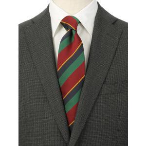 ネクタイ/レギュラータイ/メンズ/シルクコットン ストライプ柄ネクタイ/Fabric by ITALY/ レッド系 uktsc