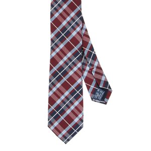 ネクタイ/ナロータイ/メンズ/チェック×織柄ナロータイ レッド系|uktsc