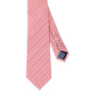 ネクタイ/レギュラータイ/メンズ/ドット×ヘリンボーン柄ネクタイ ピンク系|uktsc