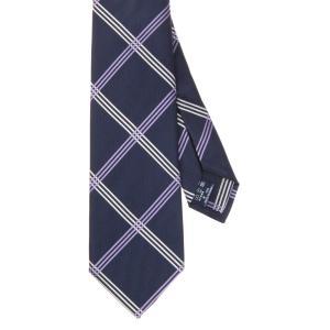 ネクタイ/レギュラータイ/メンズ/セッテピエゲ/チェック柄ネクタイ ネイビー系|uktsc