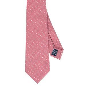 ネクタイ/レギュラータイ/メンズ/セッテピエゲ/ドット×ペイズリー柄ネクタイ ピンク系|uktsc