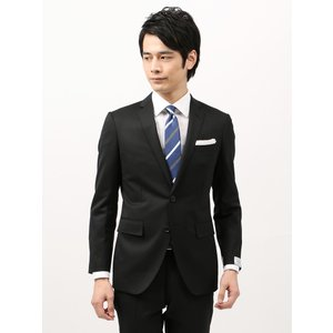 ビジネススーツ/メンズ/通年/ツーパンツ/アドバンス 2つボタンスーツ 無地 NR-04 ブラック|uktsc