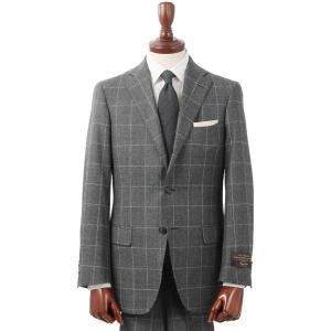 ビジネススーツ/メンズ/秋冬/3つボタンスーツ ウインドーペーン TR-02 ミディアムグレー×ライトグレー uktsc
