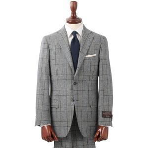ビジネススーツ/メンズ/秋冬/3つボタンスーツ グレンチェック TR-02 ライトグレー×ブラック×ブルー uktsc