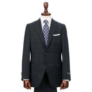 スーツ/メンズ/秋冬/HAND MADE/3つボタンスーツ ウインドーペーン TR-02 ネイビー×ブラック|uktsc