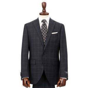 スーツ/メンズ/秋冬/HAND MADE/2つボタンスーツ チェック CH-14 ネイビー×ブラウン×パープル|uktsc