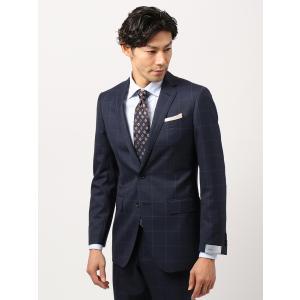 スーツ/メンズ/秋冬/ツーパンツ/アドバンス 2つボタンスーツ ウインドーペーン NR-04 ネイビー×ブルー|uktsc