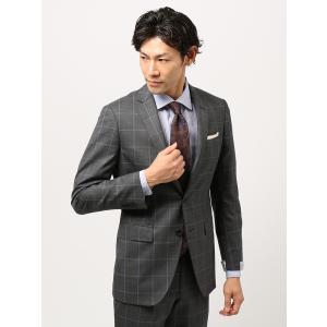 スーツ/メンズ/秋冬/ツーパンツ/アドバンス 2つボタンスーツ ウインドーペーン NR-04 ミディアムグレー×ブルー|uktsc