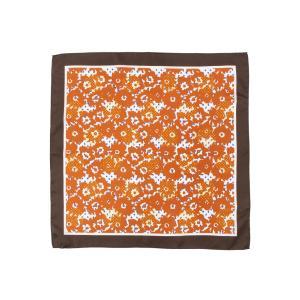 スカーフ/レディース/Littlechic/シルクツイル フラワープリントプチスカーフ オレンジ系 uktsc