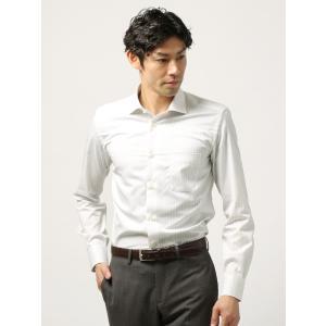 ドレスシャツ/長袖/メンズ/ANTONIO LAVERDA/ワイドカラードレスシャツシャドーストライプ〔Easy Care〕 ホワイト|uktsc