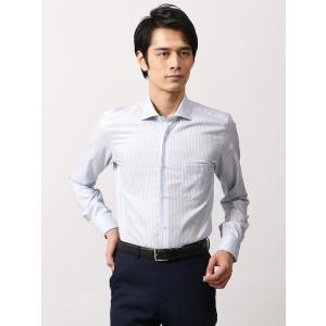 ドレスシャツ/長袖/メンズ/ANTONIO LAVERDA/ワイドカラードレスシャツ ストライプ×織柄 〔Easy Care〕 ブルー×ホワイト|uktsc
