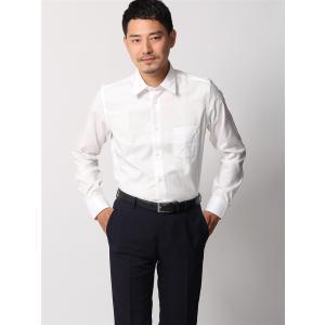 ドレスシャツ/長袖/メンズ/ANTONIO LAVERDA/ワイドカラードレスシャツ 織柄 〔Easy Care〕 ホワイト|uktsc