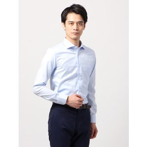 ドレスシャツ/長袖/メンズ/ANTONIO LAVERDA/ワイドカラードレスシャツ 織柄 〔Easy Care〕 サックスブルー×ホワイト|uktsc