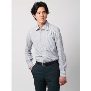 ドレスシャツ/長袖/メンズ/ANTONIO LAVERDA/ワイドカラードレスシャツ ストライプ 〔Easy Care〕 ライトグレー×ネイビー×ホワイト|uktsc