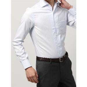 ドレスシャツ/長袖/メンズ/ANTONIO LAVERDA/ワンピースカラードレスシャツ ストライプ 〔Easy Care〕 サックスブルー×ホワイト|uktsc