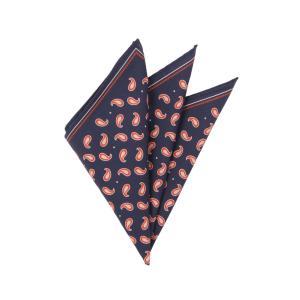 ポケットチーフ/メンズ/ペイズリープリント コットンシルクポケットチーフ ネイビー×オレンジ×ピンク uktsc