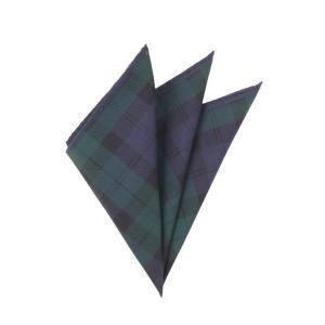 ポケットチーフ/メンズ/チェックプリント コットンシルクポケットチーフ ネイビー×グリーン×ブラック uktsc