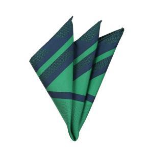 ポケットチーフ/メンズ/ジオメトリック柄 シルクポケットチーフ ネイビー×グリーン uktsc
