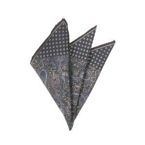 ポケットチーフ/メンズ/ペイズリー×小紋プリント シルクポケットチーフ ブラック系 uktsc