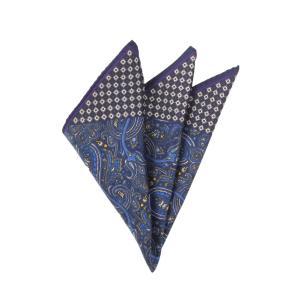 ポケットチーフ/メンズ/ペイズリー×小紋プリント シルクポケットチーフ ネイビー系 uktsc