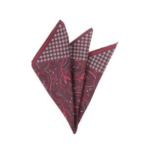 ポケットチーフ/メンズ/ペイズリー×小紋プリント シルクポケットチーフ レッド系 uktsc