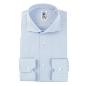 ドレスシャツ/長袖/メンズ/ANTONIO LAVERDA/ホリゾンタルカラードレスシャツ 織柄 〔HQ〕 サックスブルー uktsc