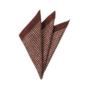 ポケットチーフ/メンズ/MADE IN ITALY/ハウンドトゥース柄シルクポケットチーフ ブラウン×ベージュ uktsc