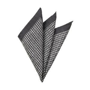 ポケットチーフ/メンズ/MADE IN ITALY/ハウンドトゥース柄シルクポケットチーフ チャコールグレー×ライトグレー uktsc