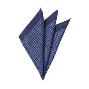 ポケットチーフ/メンズ/MADE IN ITALY/ハウンドトゥース柄シルクポケットチーフ ネイビー×ブルー uktsc