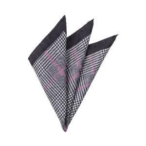 ポケットチーフ/メンズ/MADE IN ITALY/グレンチェック&ハウンドトゥース柄 シルクポケットチーフ ブラック×ライトグレー×パープル uktsc