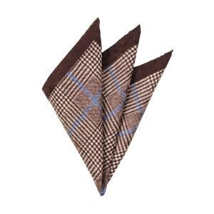 ポケットチーフ/メンズ/MADE IN ITALY/グレンチェック&ハウンドトゥース柄 シルクポケットチーフ ブラウン×ベージュ×ブルー uktsc