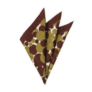 ポケットチーフ/メンズ/MADE IN ITALY/ドット&ハウンドトゥース柄 シルクポケットチーフ ブラウン×カーキ×オフホワイト uktsc