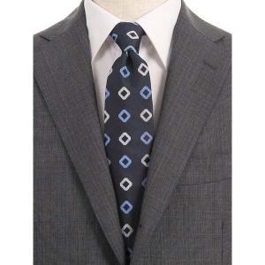 ネクタイ/レギュラータイ/メンズ/小紋×織柄ネクタイ/Fabric by VANNERS/ ネイビー×ブルー×オフホワイト|uktsc